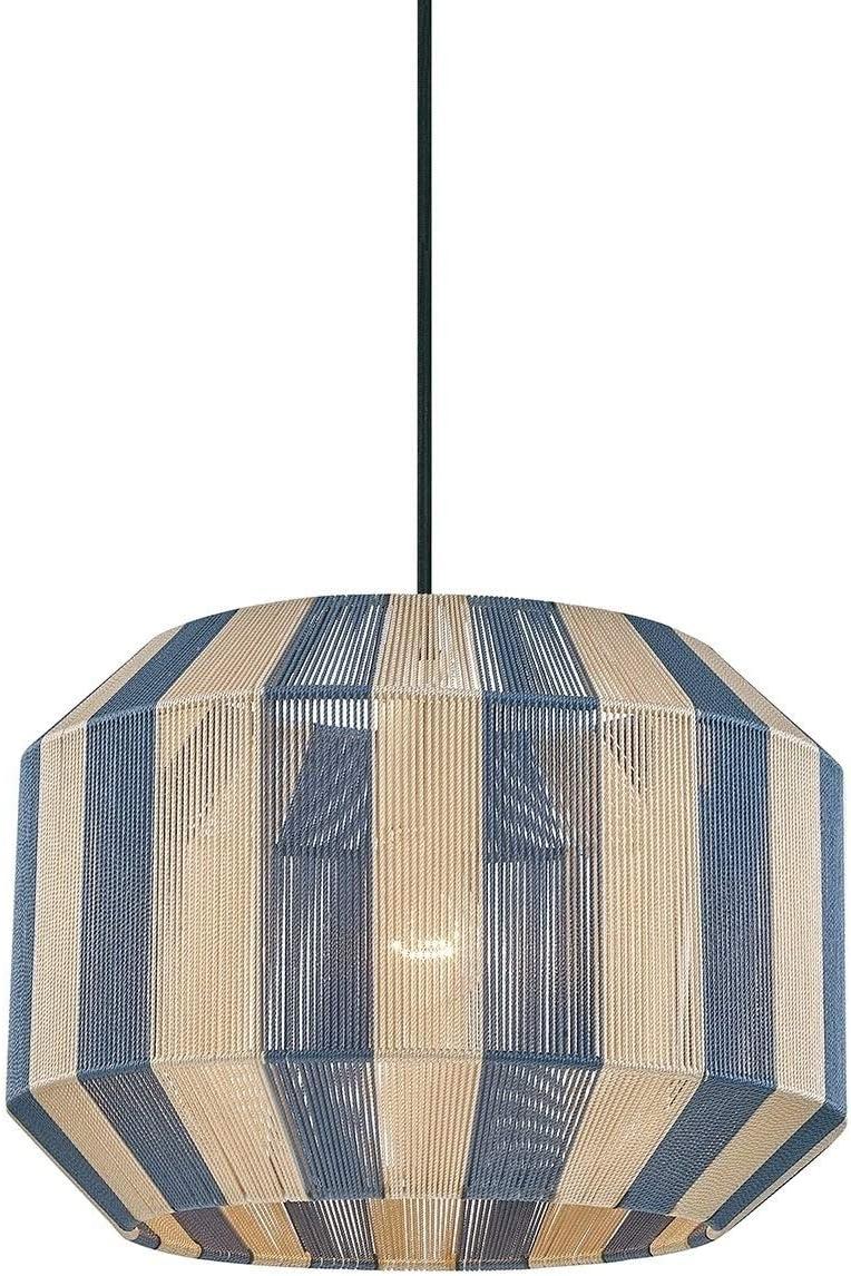 1-Licht Aged Brass Pendant blau und Cream Yarn Brown Modern Contemporary Metal