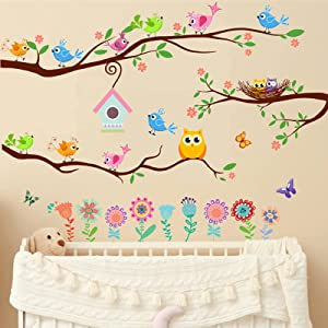 Yovkky Tree Branch Wall Decals, Bird House Nest Flower Peel and Stick Wall Sticker Butterfly Owl Floral Nursery Decor, Home Kitchen Play Living Room Bedroom Art Decoration Boy Girl Kid Party Supplies