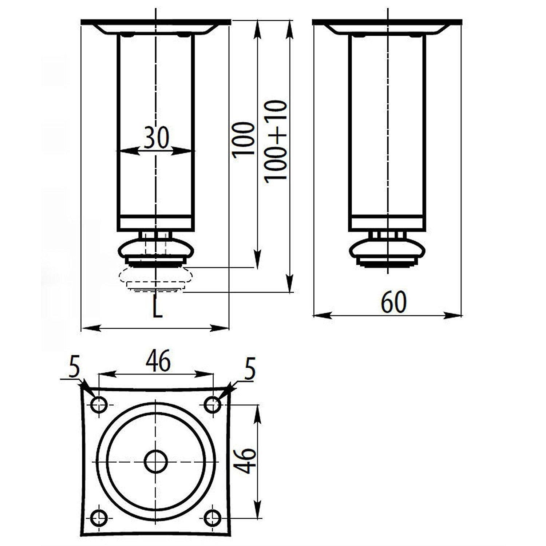 4 X Mprofi MT/® Patas de Metal muebles armario de cocina pies redondo cromo pulido altura 100 mm di/ámetro de 30 mm altura regulable