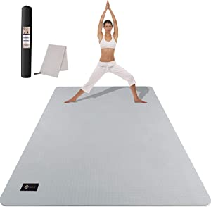 CAMBIVO Large Yoga Mat (6' x 4' x 6mm), Extra Wide TPE Mat for Men and Women, Exercise Fitness Mat for Home Gym, Yoga, Pilates, Workout