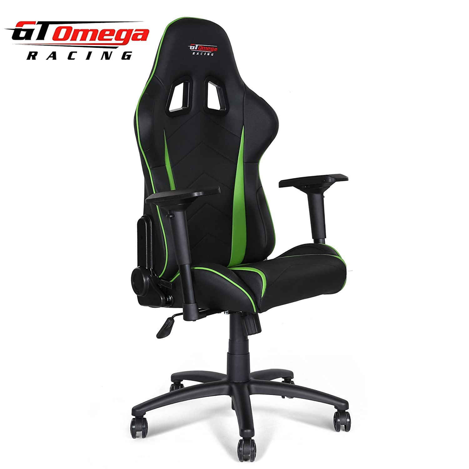 Gt Omega Pro Racing Office Chair Black Next Green Leather Amazon