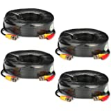 SANNCE® 4 Pack 30M 100 Feet BNC Video Power Cable Security Camera Cable for CCTV Surveillance DVR System Installation, Free BNC RCA Connector Included