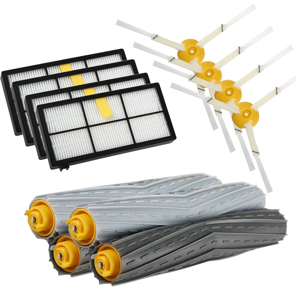 Parts for iRobot Roomba 980 880 870 800 Robotic Vacuum Cleaner (4pcs Hepa Filters, 4pcs Side Brushes, 2 Set Tangle- Debris Extractor)