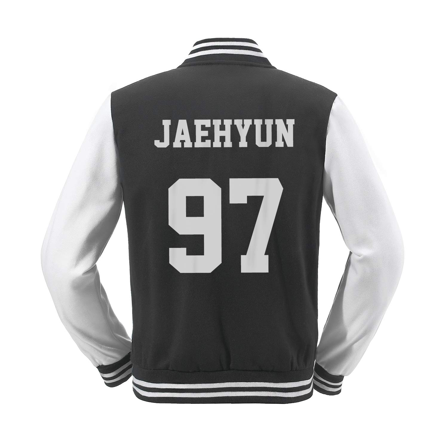Fanstown Kpop NCT Baseball Jacket NCT U NCT 127 NCT Dream Black Jacket menber Name and Birth Year with pin Button Badge
