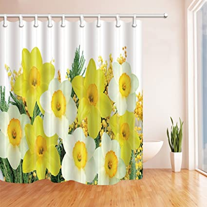 Image Unavailable Not Available For Color Rrfwq Spring Yellow Flowers Shower Curtains
