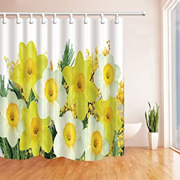 Amazon Nyngei Spring Yellow Flowers Shower Curtains Polyester