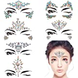 DaLin 6 Sheets Face Gems Rave Festival Jewels Crystals Bindi Rainbow Tears Rhinestone Temporary Tattoo Face Rocks