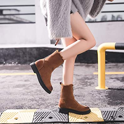Amazon.com | GINELO Womens Autumn Winter Low Heel Flat Block Zip Ankle Chelsea Boots Ladies Shorty Shoes Snow Short Shoes | Boots