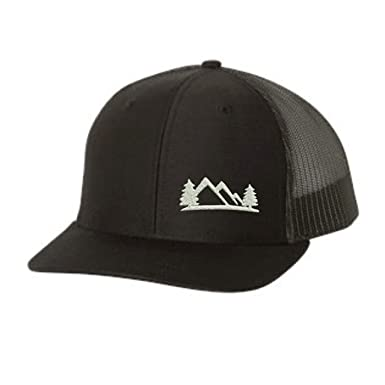 72c34d2ef2a063 Lane Weston Trucker Hat – Outdoors Mountain Pine Tree – Adjustable Snapback  Men Women (Black