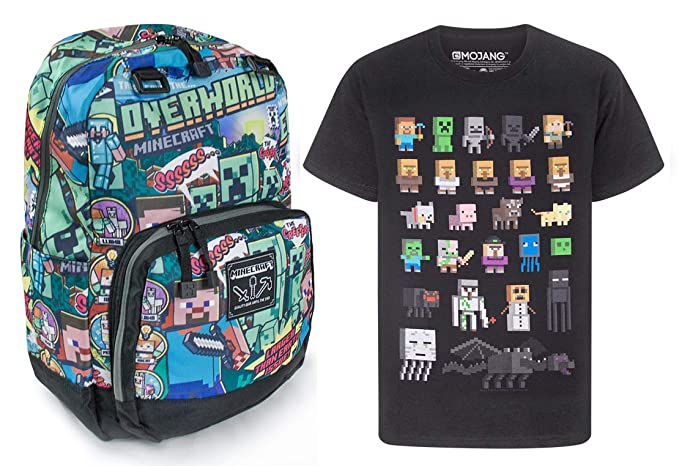Official Minecraft Steve Overworld Backpack and Sprites T-Shirt Gift Set Bundle: Amazon.es: Ropa y accesorios