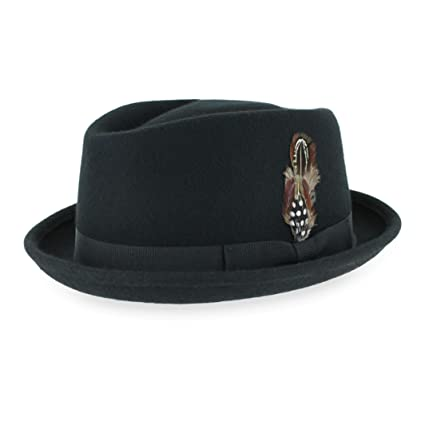 45242cc3 Belfry Crushable Porkpie Fedora Hat Men's Vintage Style 100% Pure Wool in  Black Brown Grey Navy Pecan and Striped Band at Amazon Men's Clothing store: