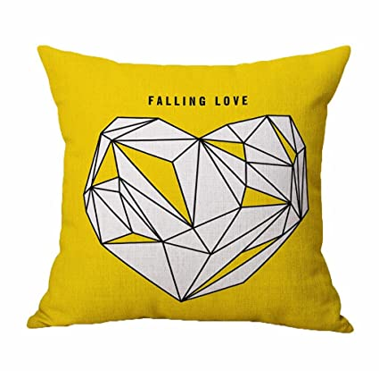 Holacha LOVE Funda de Cojín 45x45cm para Almohadas Serie amarilla Decoración del hogar para casa coche cuadrado (D)