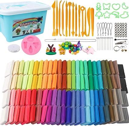 50 Colores horno Bake modelado de arcilla 27 Modelos Creaciones Libro AcrylicTube Roller Arcilla de Polim/érica