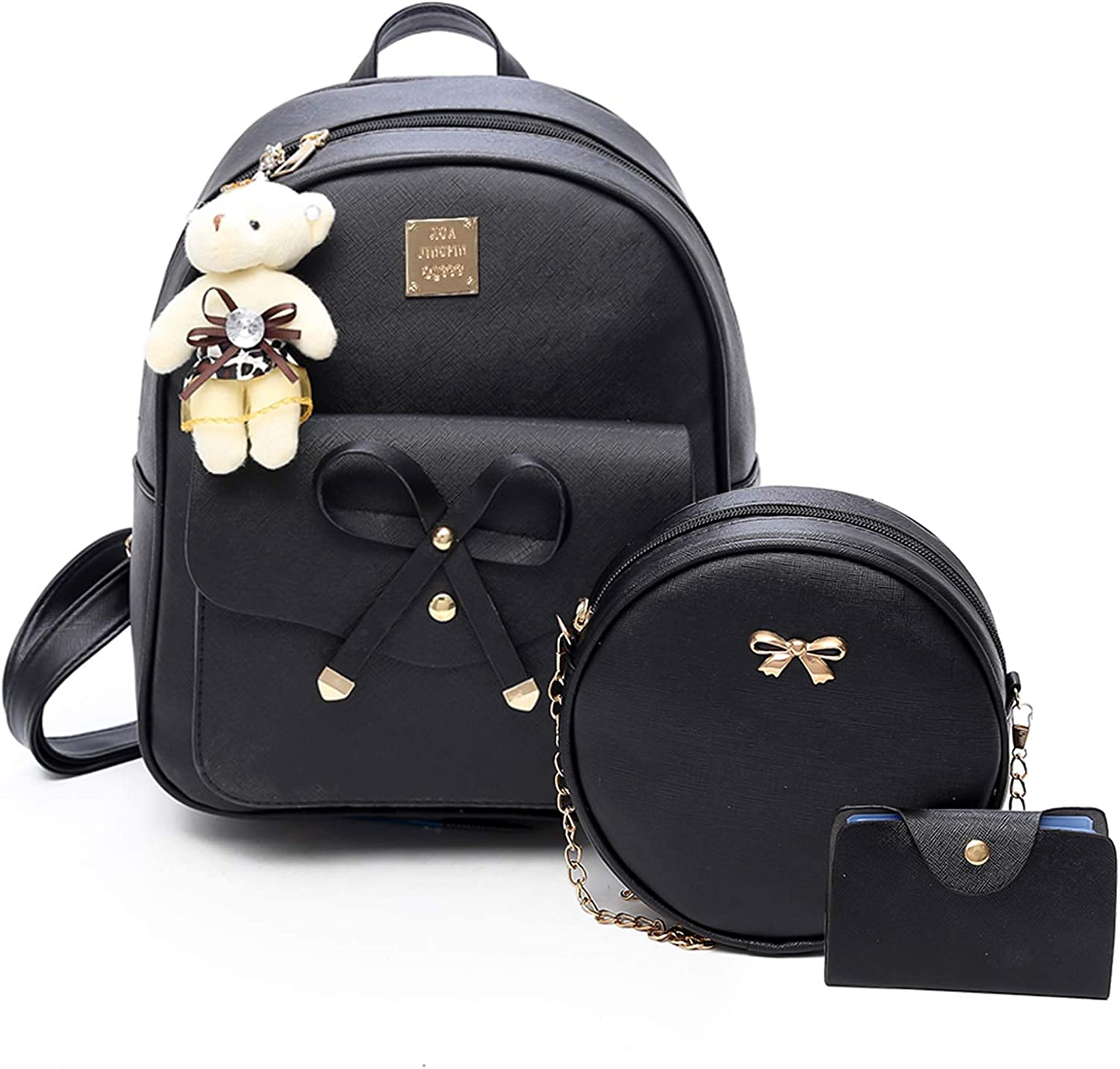 ZGWJ Mini Leather Backpack Purse Bowknot Small Backpack Cute Casual Travel Daypacks for Girls Women(3-Pieces)