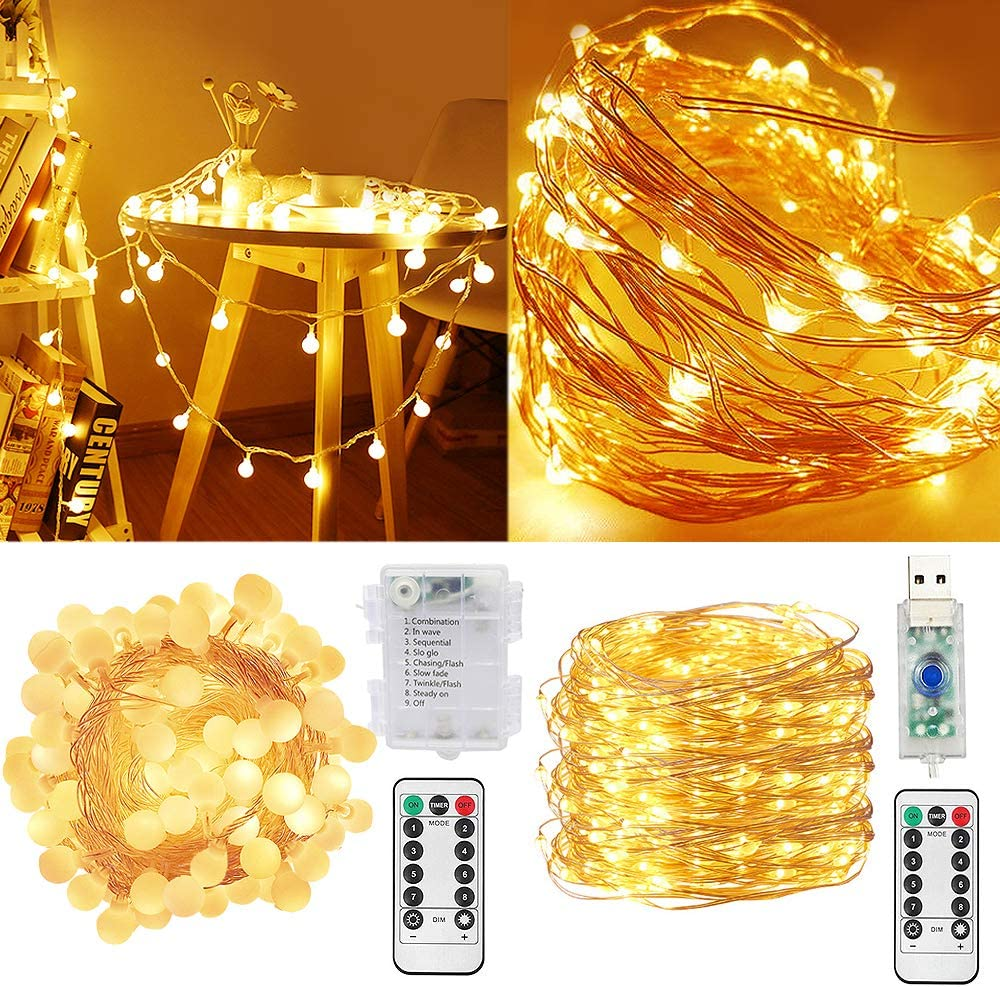 Fairy String Lights 33Ft 100LED Copper Wire USB Firefly Lights 8Modes with Remote Waterproof Outdoor Indoor for Bedroom Garden Wedding Party Christmas Wall Decor