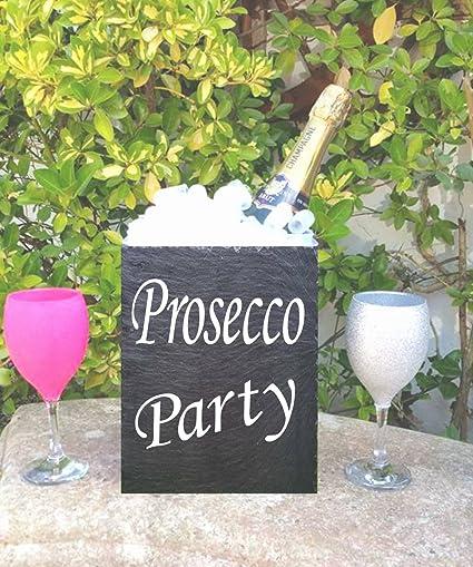Prosecco personalizada pizarra natural de hielo cubo enfriador de botellas, soporte de vino regalo