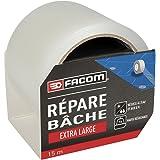 FACOM 84391 Adhésif Répare Bâche Extra Large 15 m x 75 mm, Transparent