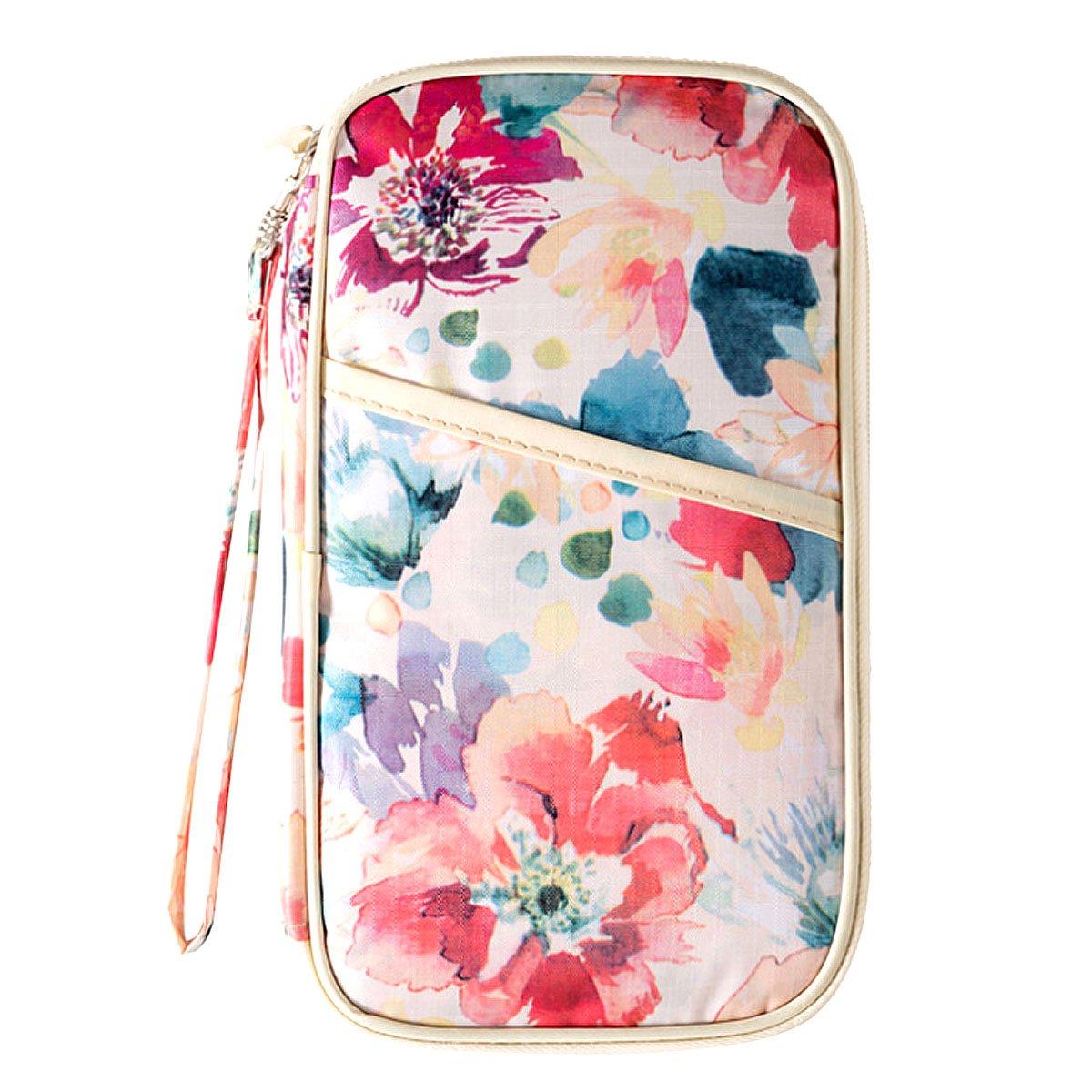 Sun Kea Women Long Clutch Purse Zipper Card Holder Cell Phone Wallet Travel Purse with Hand Strap