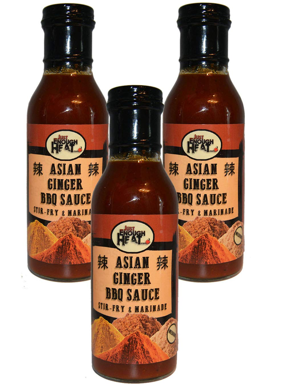Amazon Com Asian Ginger Bbq Sauce Spicy Stir Fry Wing Sauce Medium Heat 3 Pack By Just Enough Heat Grocery Gourmet Food