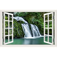 Peel & Stick Vinyl Wall Decal Sticker Waterfall Window Frame Style Wall Murals Decor Art for Living Room Home Décor…