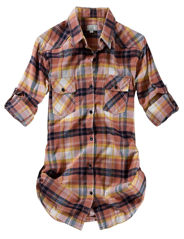 2021 Checks 24 Match Women's Long Sleeve Flannel Plaid Shirt