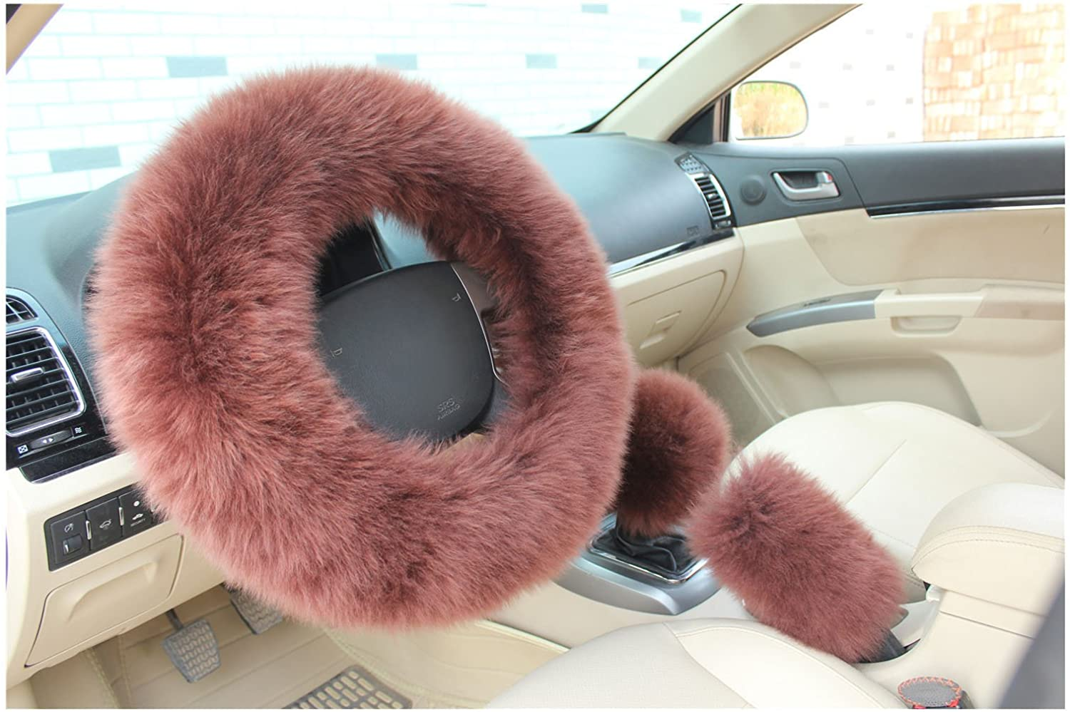 BELLESIE 3pcs 1 Set Soft Fluffy Plush Australian Wool Car Steering Wheel Cover with Handbrake Cover /& Gear Shift Cover for 14.96 X 14.96 Steeling Wheel in Diameter