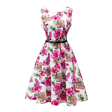 Womens Vintage Dress Sleeveless Summer Dress Elegant 1950s Retro Dress Floral Print Belted Party Office Casual