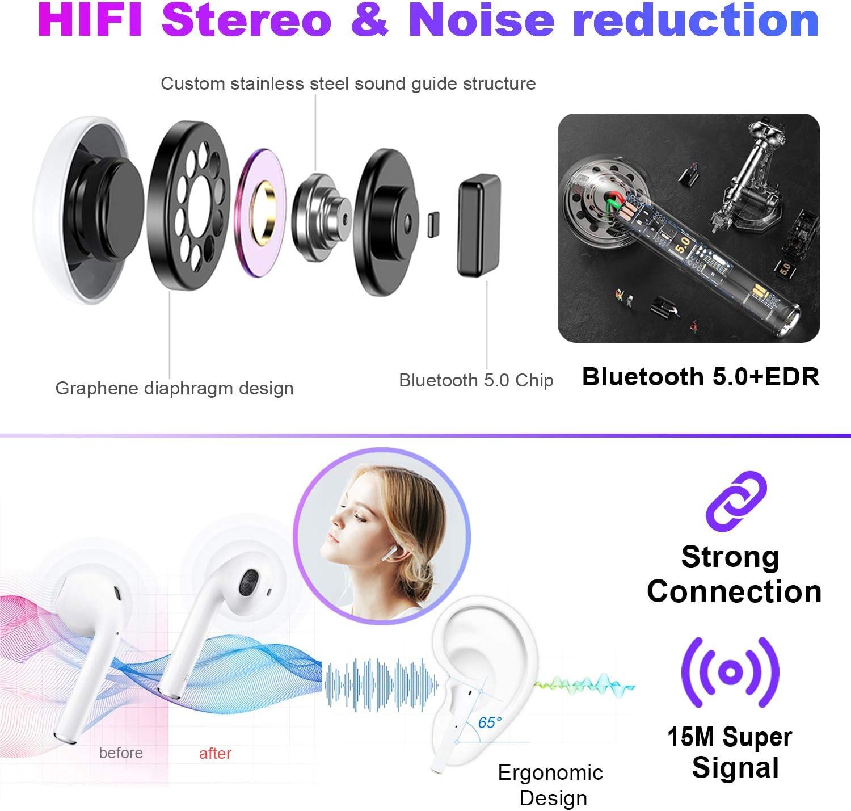 Wasserdichtem IPX5 Kabellose Kopfh/örer In-Ear Ohrh/örer mit Stereo 3D,Mikrofon Kabellose Kopfh/örer Bluetooth Kopfh/örer 5.0 30Hs Spielzeit Kompatibel f/ür Apple//iPhone//Huawei//Samsung//Airpods