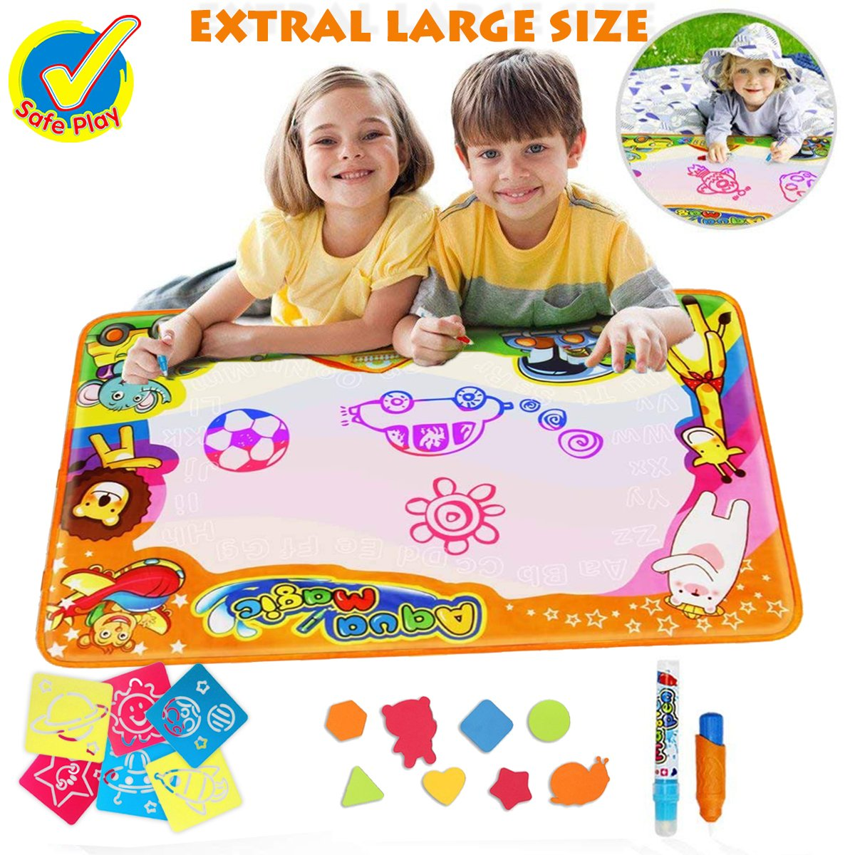 Water Doodle MatMagic Water DrawingMat 34.25 x 22.4 inchToddler ToysWater Drawing Pad Writing MatsKids Educational Travel Toy Gift for Boys Girls Toddlers Age 2 3 4 5, 6 Colors