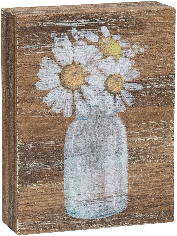 "Collins Painting Inspirational Wood Grain Mini Block Sign, 4"" (Daisies)"