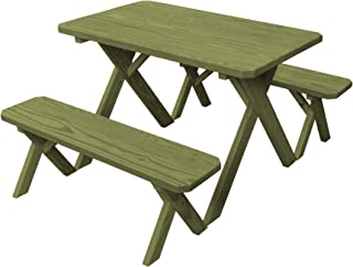 product image for Pressure Treated Pine 4 Foot Cross Leg Picnic Table with Detached Benches-Linden Leaf Stain