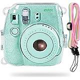 Katia Camera Case Bag Compatible Compatible for Fujifilm Instax Mini 9 Instant Camera, Also for Fujifilm Instax Mini 8 Instant Film Camera with Strap - Shining Transparent