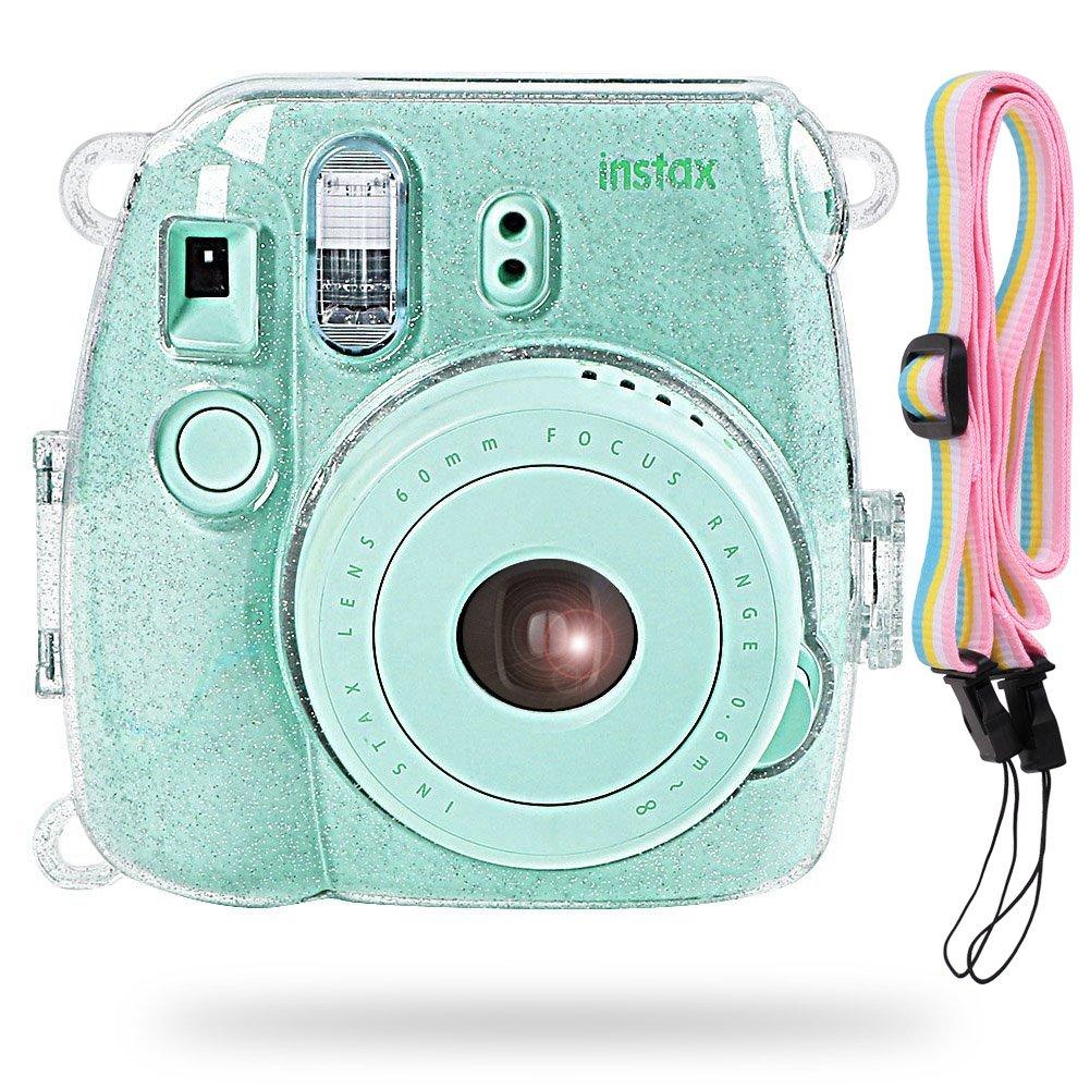 SAIKA Protecteur Housse pour Fujifilm Instax Mini 9/8/8 + Appareil Photo Instantané avec Sangle réglable et Pochette pour Film, Caramella