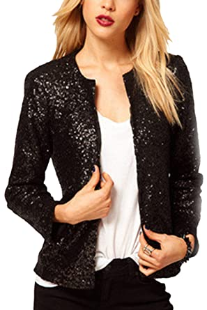 Women Sequins Blazer OL Tops Lapel Business Outfit Cardigan ...