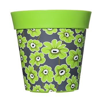 22cm Blumentopf Pflanzkübel Grün & Graues Blumen Design aus ...