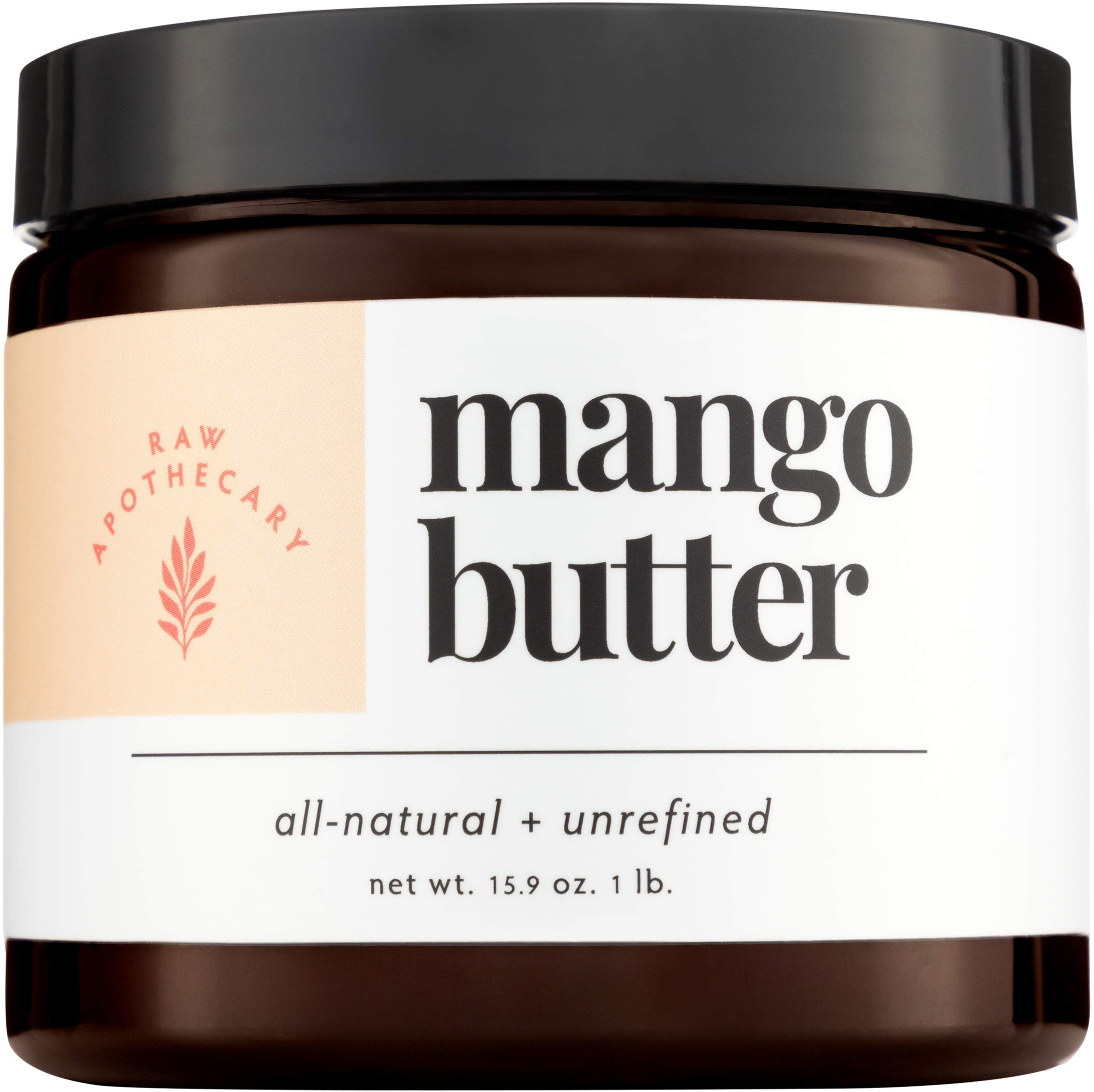 Mango Butter- 100% All Natural by Raw Apothecary- Top-Grade, Unrefined and Additive Free Body Butter (15.9oz)