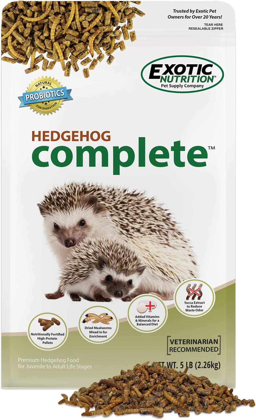 Hedgehog Complete 5 lb - Nutritionally Complete Natural Healthy High Protein Pellets & Dried Mealworms - Food for Pet Hedgehogs