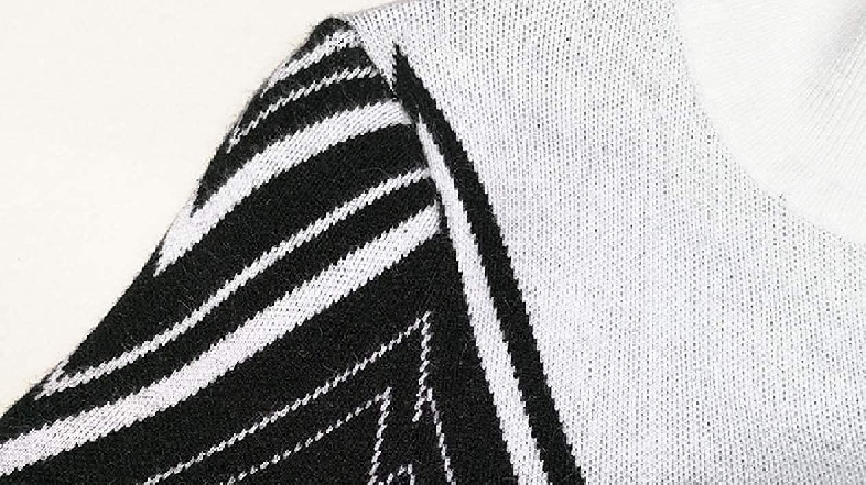 Unastar Womens Wave Striped Mock Neck Long-Sleeve Elegent Sweater Dress