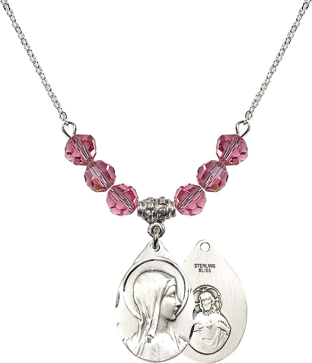 Bonyak Jewelry 18 Inch Rhodium Plated Necklace w// 6mm Blue March Birth Month Stone Beads and Blessed Trinity Charm