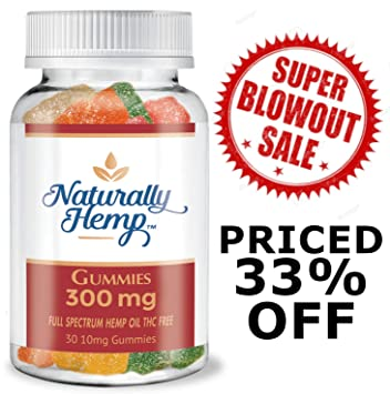 Naturally Hemp Oil Gummies - 300mg - 30 ct - Full Spectrum Hemp Oil Gummies  - May Help with - Pain