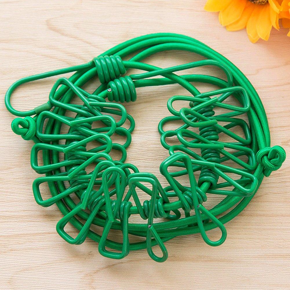 con 12 Clip Green Corda per bucato Portatile Antivento Jiyoujianzhuzhuangshigongchengyouxianggsi da Viaggio