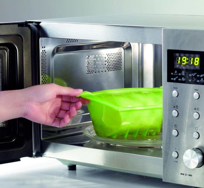 color verde capacidad de 1000 ml Estuche hondo Papillote XL para el microondas L/éku/é para 3-4 personas