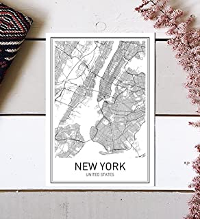 Amazon framed art print blueprint map new york by susan new york poster new york map new york city city map posters malvernweather Gallery