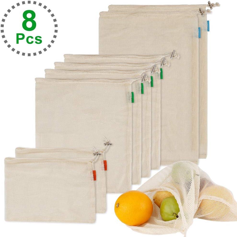 8 Set Einkaufstaschen f/ür Obst Gem/üse Spielzeug 2XL, 4xM, 2XS Wiederverwendbare Obst und Gem/üsebeutel Umweltfreundliche Waschbare Aufbewahrungsbeutel Nat/ürliche Baumwolle Mesh-Tasche Dohomai