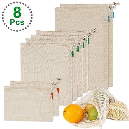 Dohomai [8 Piezas] Bolsa de Producción Reutilizable, Bolsas Compra, Bolsas de Malla Ecológicas Reutilizables, Bolsas de Algodón para Frutas y ...