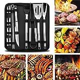 BBQ Tools Set RabbitStorm- Set de 18 Utensilios y Cubiertos Profesional para Asador Carne Asada en Acero Inoxidable. Espátula