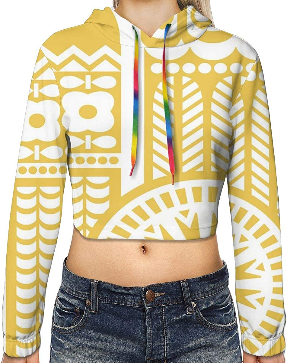 Womens Cropped Hoodie,Abstract Botanical Artistic Leaf Designs Pattern,S-XL