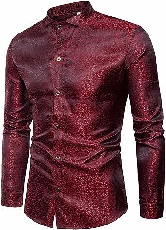 Camisas Hombre De Vestir Botones De Seda Satin Estampada Moda Slim Fit De Manga Larga Formal Negocio Casual Personalidad Tops Básica Elásticas Blusa: Amazon.es: Ropa y accesorios