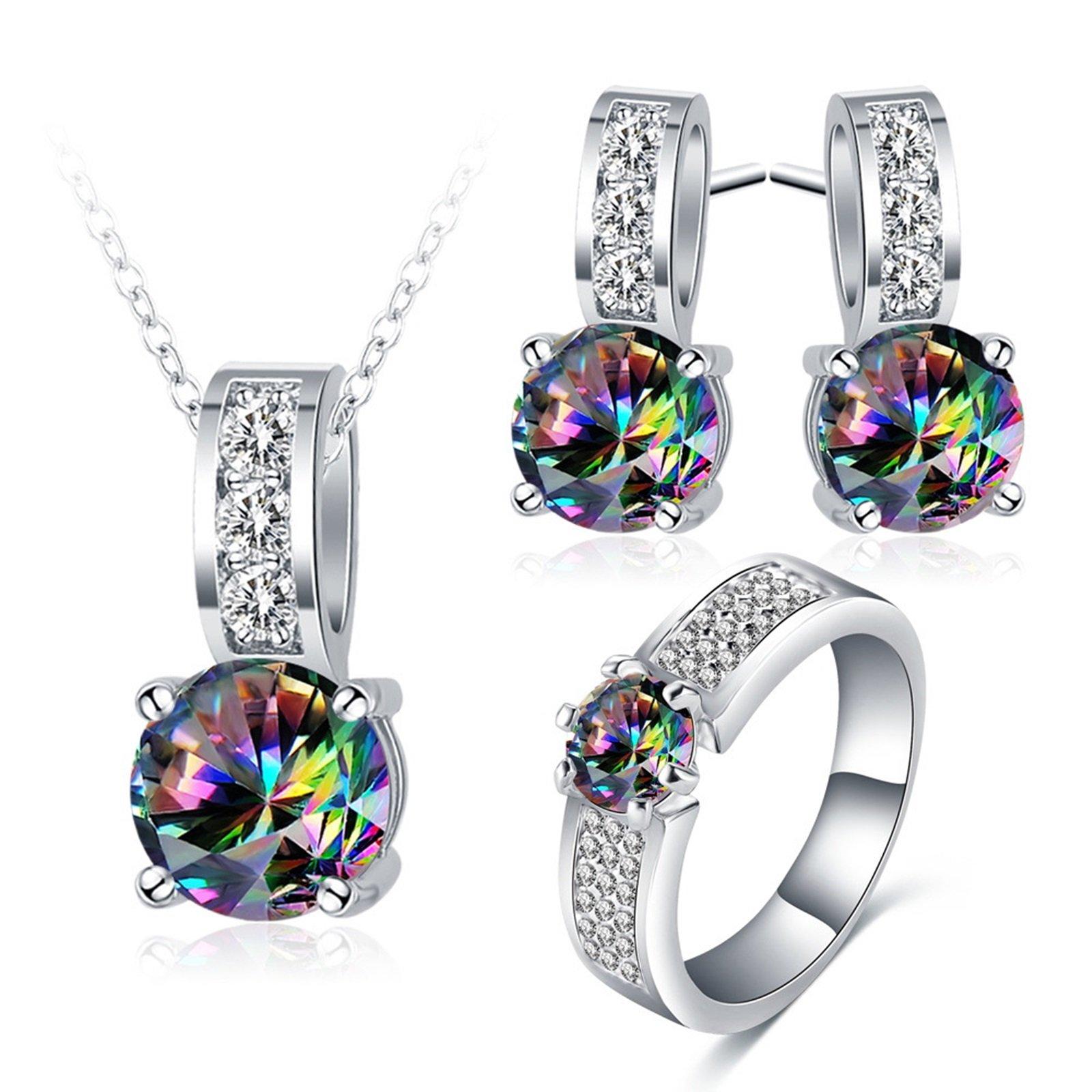 AnaZoz 3PCS Jewelry Set, Wedding Jewelry, Mysteriou Zirconia Stud Earring Dangle Women Engagement Ring Necklace Set with Gift Box Size 5