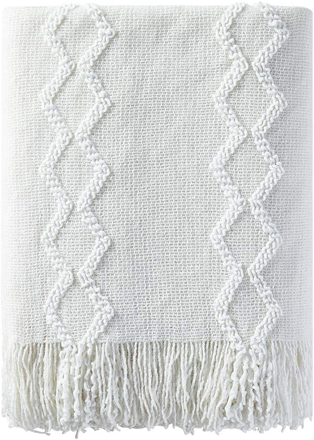 """BOURINA Fluffy Chenille Knitted Fringe Throw Blanket Lightweight Soft Cozy for Bed Sofa Chair Throw Blankets, 50"""" x 60"""",White"""